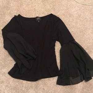 Black blouse with chiffon bell sleeves
